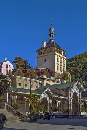 colonnade: Market Colonnade and Castle Tower in the historical center of Karlovy Vary, Czech republic