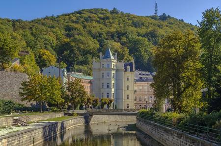 karlovy: embankment of Tepla river in Karlovy Vary, Czech republic Stock Photo