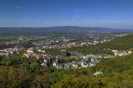 karlovy: View of Karlovy Vary from Diana observation tower, Czech republic