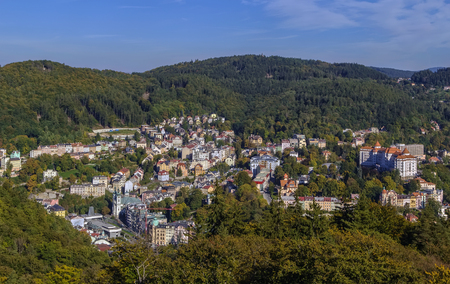 karlovy vary: View of Karlovy Vary from Diana observation tower, Czech republic
