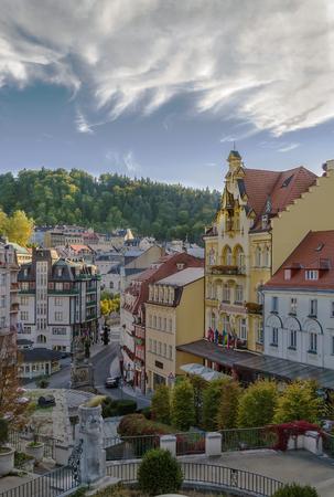 karlovy: View of Karlovy Vary city center, Czech republic Stock Photo