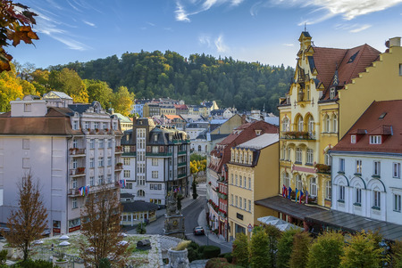 karlovy: View of Karlovy Vary city center, Czech republic Stock Photo