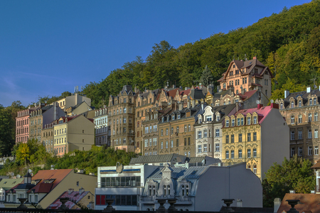 karlovy: view of houses on the hill in Karlovy Vary, Czech republic