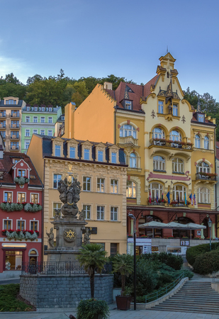 karlovy: Holy Trinity Column in Karlovy vary historic center, Czech republic Stock Photo