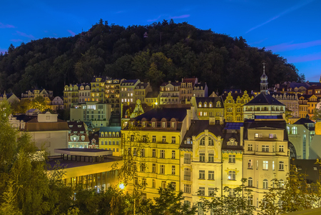karlovy vary: View of historical center of Karlovy Vary from hill in evening, Czech republic
