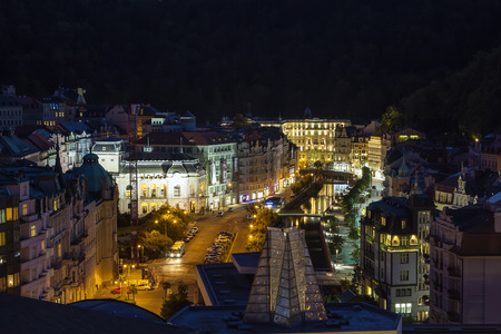 karlovy: View of Karlovy Vary in evening, Czech republic