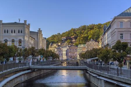 vary: embankment of Tepla river in Karlovy Vary, Czech republic Stock Photo