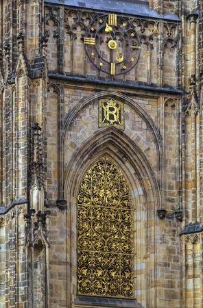 lattice window: The Metropolitan Cathedral of Saints Vitus is a Roman Catholic metropolitan cathedral in Prague, Czech republic. Window gold lattice