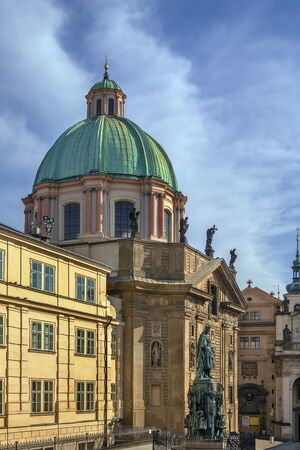 st charles: Church of St Francis Seraph is early Baroque church is located next to the Charles Bridge, Prague, Czech republic Stock Photo