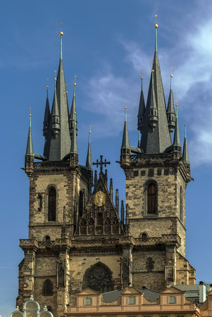 staromestke namesti: Church of Our Lady before Tyn, is a dominant feature of the Old Town of Prague, Czech Republic, and has been the main church of this part of the city since the 14th century. Stock Photo