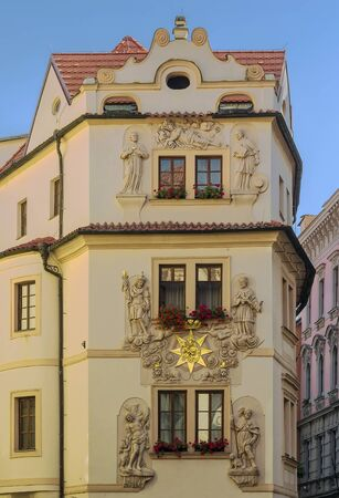 sculptural: building with sculptural relief in Prague old town, Czech republic Stock Photo