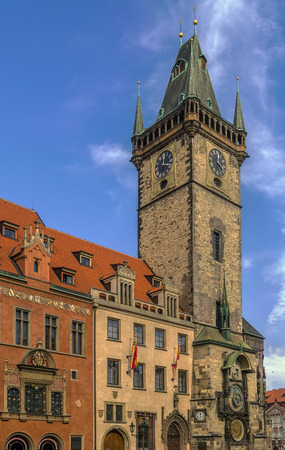 14th century: Town Hall Tower, hosting the astronomical clock, was built in the 14th century, Prague, Czech republic