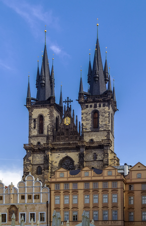 staromestke namesti: Church of Our Lady before Tyn, is a dominant feature of the Old Town of Prague, Czech Republic, and has been the main church of this part of the city since the 14th century. Editorial