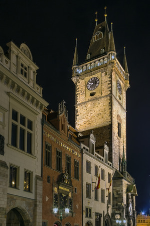14th century: Town Hall Tower was built in the 14th century, Prague, Czech republic. At night Stock Photo