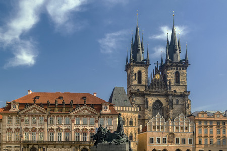 tyn: Old Town Square with Church of Our Lady before Tyn and Jan Hus monument, Prague, Czech republic Stock Photo