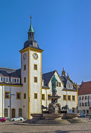 main market: Freiberg town hall on main market square, Germany