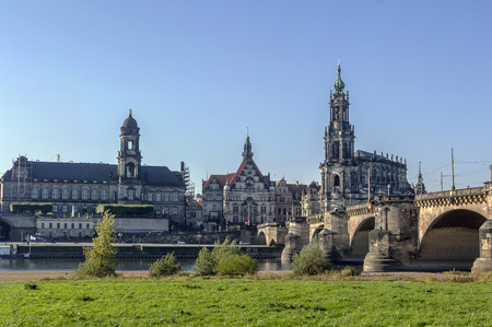 other side of: view of Old town of Dresden from the other side of the Elbe river,Saxony,Germany Stock Photo
