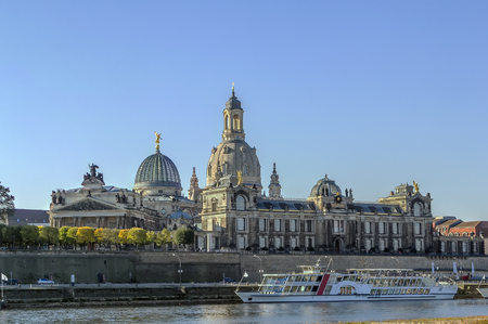 to the other side: view of Bruhl Terrace from the other side of the Elbe river,Dresden,Saxony,Germany