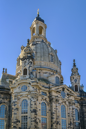 frauenkirche: The Frauenkirche is a Lutheran church in Dresden, Saxony, Germany. It is considered an outstanding example of Protestant sacred architecture, featuring one of the largest domes in Europe.