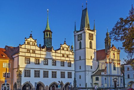 stephen: Cathedral of St. Stephen with belfry on main square in Letomerice, Czech republic