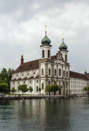jesuit: Jesuit Church in Lucerne is the first large baroque church built in Switzerland north of the Alps Stock Photo