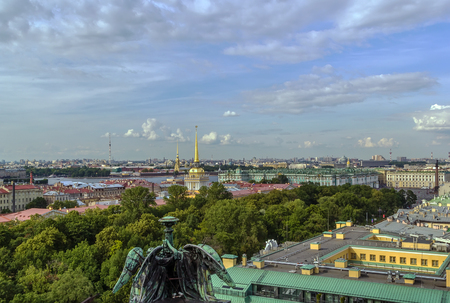 isaac: view of Admiralty building from Isaac cathedral, Saint Petersburg, Russia Stock Photo