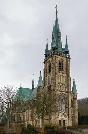 st german: St. Boniface is a Built in 1885, Roman Catholic parish church in Fulda-Horas, German Stock Photo
