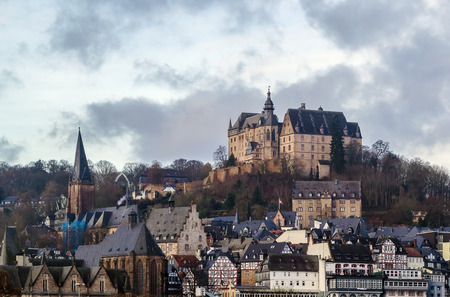 view of Marburg with castle on hill, Germany