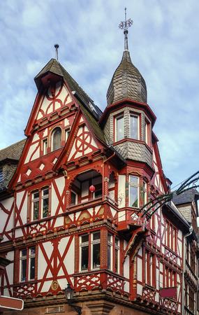roof framework: street in Marburg with half-timbered houses, Germany
