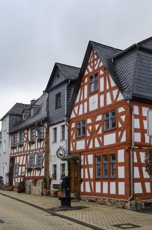 limburg: street  with half-timbered houses in Limburg old town, Germany