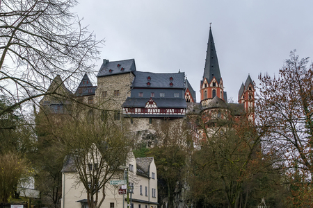 limburg: View of Limburg cathedral and castle from Lahn river, Germany