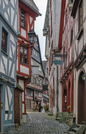 der: street  with half-timbered houses in Limburg old town, Germany