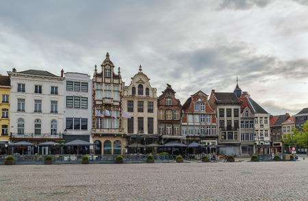 View of historic houses on  Grand Market Square (Grote Markt) in Mechelen, Belgium Stok Fotoğraf