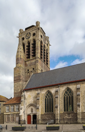 saint nicolas: View of church of Saint Nicolas in Veurne city center, Belgium Stock Photo