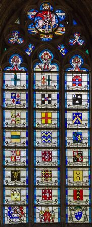 ypres: Stained-glass window St Martin Cathedral, Ypres, Belgium Stock Photo