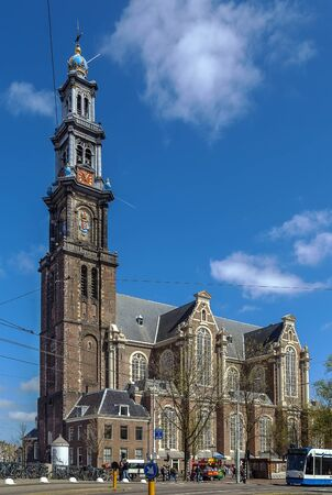 prinsengracht: Westerkerk (Western Church) is a Reformed church within Dutch Protestant church in central Amsterdam in the Netherlands. It is on the bank of the Prinsengracht canal Stock Photo