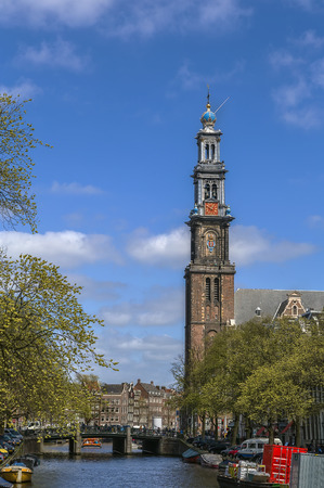 protestant: Westerkerk (Western Church) is a Reformed church within Dutch Protestant church in central Amsterdam in the Netherlands. It is on the bank of the Prinsengracht canal Stock Photo