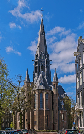gothic revival: Vondelkerk (Vondel Church) was built in Gothic revival style in Amsterdam at the edge of the Vondelpark Stock Photo