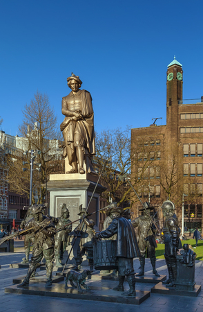 rembrandt: Statue of Rembrandt and sculptures of the Night Watch in 3D at the Rembrandtplein in Amsterdam
