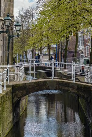 delft: bridge over a small canal in Delft downtown, Netherlands