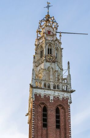 traditionally dutch: The Bakenesserkerk is a former church and seat of the local archeological workgroup in Haarlem, Netherlands Stock Photo