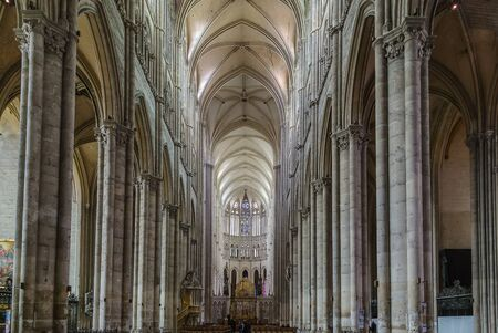 nave: Amiens Cathedral is a Roman Catholic cathedral.  The cathedral was built between 1220 and c.1270 , France. Interior. Main nave Editorial