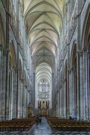 Amiens Cathedral is a Roman Catholic cathedral.  The cathedral was built between 1220 and c.1270  France. Interior. Main nave Editorial