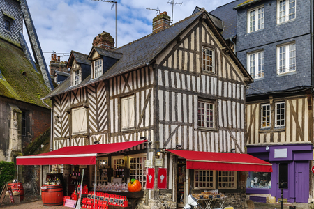 half timbered: Historical Timber framing house in Honfleur, France Editorial