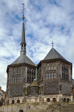 basse normandy: Church of Saint Catherine in Honfleur, France Stock Photo