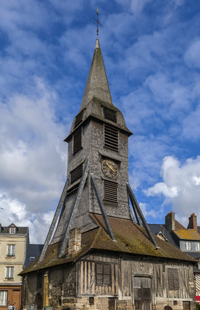 glasswork: Bell tower of the Church of Saint Catherine, Honfleur, France