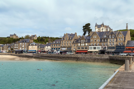 manche: view of waterfront in Cancale city, Brittany, France