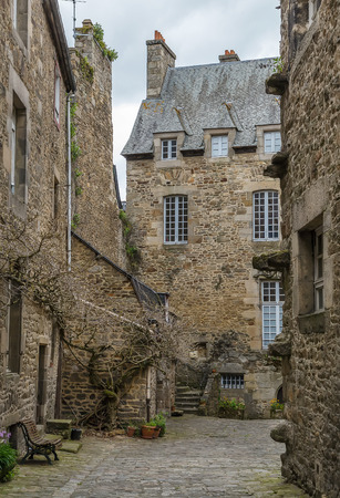 dinan: street in historical center of Dinan, Brittany, France