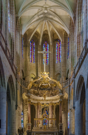 The construction of St Sauveur Basilica was commissioned around 1120, Dinan, France. The main altar.