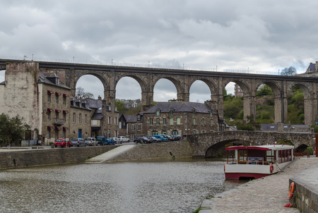 rance: view of river Rance with Viaduct of Lanvallay, Dinan, France